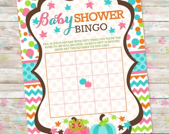 Baby Shower Game, INSTANT DOWNLOAD, Printable Baby Bingo, Two Little Pumpkins, DIY, Twins Baby Shower, Fall Baby Shower