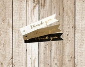 Gold Foil Printed Thank You Kraft  Pennant Tags-Flag tags-Kraft tags-Favor Tags- Gold Foil Printed Favor Tags