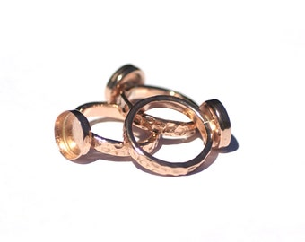Copper Bezel Ring Blanks Cup Ring Hammered for Resin Gluing or Setting - Size 6