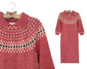 Vintage Sweater Dress * 80s Wool Dress * Vintage Knit Dress * Small - Medium