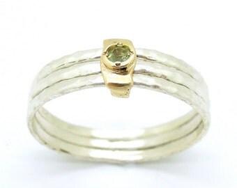 Peridot ring, yellow gold, stacking ring, hammered silver bands