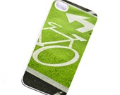 SALE, Green & White Bike slim iPhone 4s case, Iphone 4 gadget cover for cyclists
