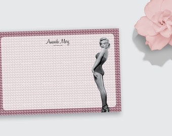 Notecard / Stationery - Persoanlized Marilyn Monroe Diamonds - Printable File