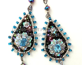 Sky Blue and Black Sparkling Beaded and Sequined Glitter Earrings