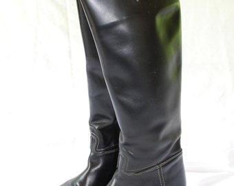Womens Veltheim Switzerland Black Leather Equestrian Horse Riding Boots size 7 A
