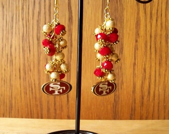 San Francisco 49er NFL Logo Earrings with Red Swaroski Crystals and Goldplated Sparkle beads, 49er Earrings, 49er Jewelry, NFL logo earrings