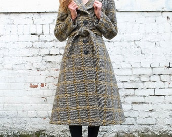 Vintage Tweed 1960's Plaid Black Yellow Cream Wool Belted Winter Trench Coat Jacket S/M