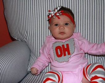 OH front, IO back (on tush) Colored Baby Bodysuit/Onesie, State of Ohio onesie