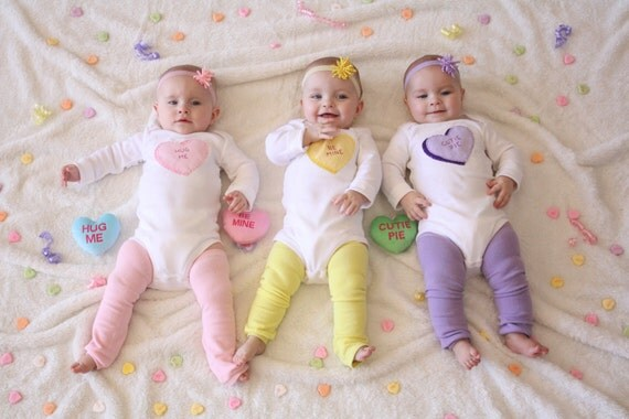 Valentine's Day Candy Heart Set of 3 Bodysuits for TRIPLETS, Triplets pick 3, triplets baby shower gift, Triplets Valentine set