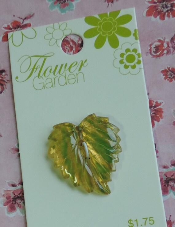 "Green Metallic Leaf Button 1 and 1/8"" 28mm Flower Garden Blumenthal Lansing Co"