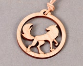 Wolf Pendant - Wolf Necklace - Wood Pendant - Wood Necklace
