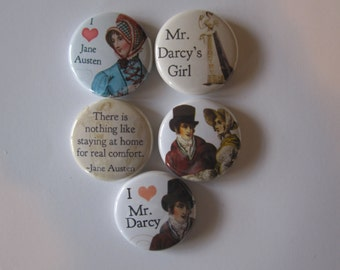 set of 5 Jane Austen themed Mini 1 inch magnets or 1.25 inch button magnets  you choose size
