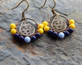 Wire wrapped hoop earrings, small beaded hoops, navy blue and yellow, bohemian jewelry, indie style, lightweight, colorful earrings