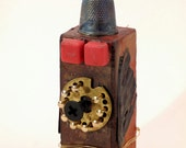 Assemblage Art:  Totem for the Time Traveler #6 original mixed media sculpture  by Leslee Lukosh of Foundturtle
