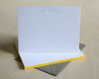 Letterpress Stationery with Edge Painting - Awesome Thank You Notes, Letterpress Notes, Modern Stationery with Blind Impression