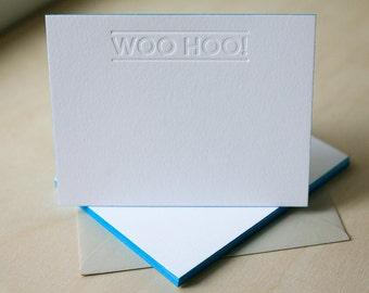 Letterpress Edge Painted Notecards - Woo Hoo Notes