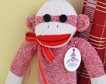 Sock Monkey Doll in Red, Personalized Option