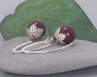 Earrings Swarovski Crystal Pearl Blackberry Silver Marquise Dangle Earrings, Pearl Earrings, Berry Earrings, Mixed Metal Gold and Silver