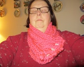 Hand Knit Pink Cable Cowl/Scarf