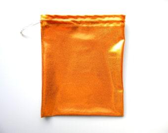 NEW Gymnastics Grip Bag or Gift Bag Shiny Mystique Orange Metallic Spandex Print