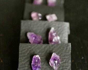 FREE Shipping - Raw Amethyst Stud Earrings - raw crystal, amethyst, purple, crown chakra