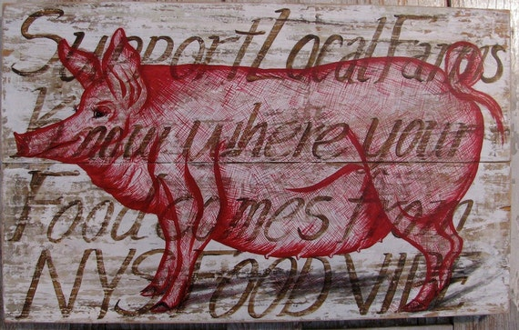 Pig painting on re-purposed wood