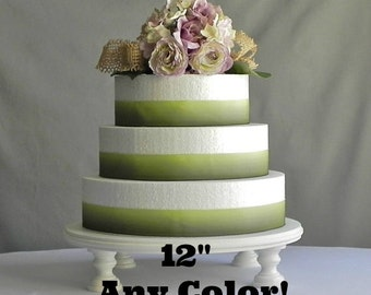 """12"""" Cake Stand ANY COLOR Round Cupcake Rustic Wedding Cake Stand Cake Topper Wedding E. Isabella Designs Featured In Martha Stewart Weddings"""