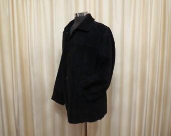 Vintage 90s Roger David Mens' Black Suede Coat Jacket