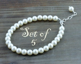 Bridal Party Pearl Bracelets, Set of 5, Classic Cream or White Swarovski Pearl Bracelet with Sterling Silver Findings