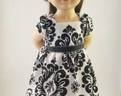Black and White Filigree Dress for 18 inch Doll, American Girl Doll
