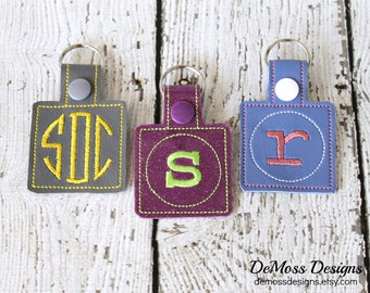 Personalized Keychain, Bag Tag, Custom Made, Vinyl, with Snap