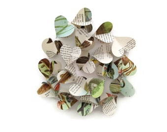 Fish Mini Paper Heart Garland Decoration -  Repurposed Vintage Field Guide to Fishes - Handmade Party Supplies