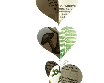 Heart Garland Decoration - Repurposed Vintage Field Guide to Non-Flowering Plants - Fun Earth Day Decoration - Unique and Handmade