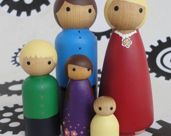 Wood doll house family - set of 5 - custom families available