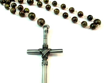 Anglican Prayer Beads for Him - Dragon Blood Jasper with Large Pewter Cross