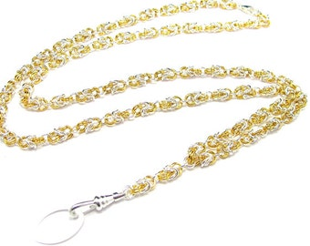 Lanyard - Handcrafted, Elegant Byzantine in Silver and Gold