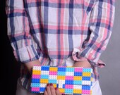 Multicolor candy clutch made entirely of LEGO bricks