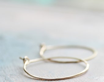"""Small Gold Hoop Earrings - Hoop Earrings ( 1"""" ) thin hoop earrings, gold hoops, minimalist earrings,  thin gold hoops, gold earrings"""