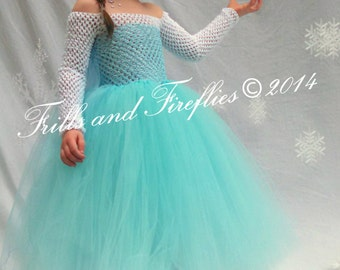 Elsa Snow Princess Tutu Costume, Halloween, Birthday Party, Photo Shoots, Sizes 2t up to size 6, Larger Available upon request!