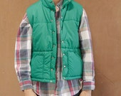 ski PUFFY VEST solid kelly GREEN 80s classic style outdoors