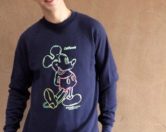 MICKEY MOUSE 90s navy blue NEON sweatshirt