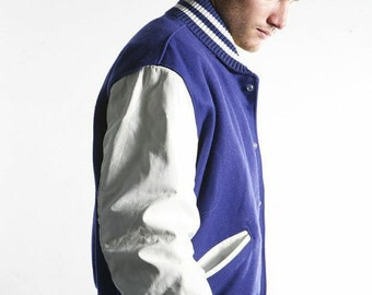 60s grease LETTERMAN jacket blue and white