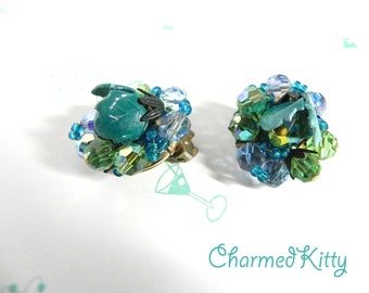 Vintage Earrings 40s Truly Gorgeous Green and Teal Enamel and Glass Bead Clippies - on sale
