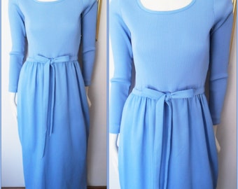 Vtg.70s Blue Ribbed Long Sleeve Knit Maxi Dress by Alison Ayres.S-L.Bust 34-40.Waist 28-32.