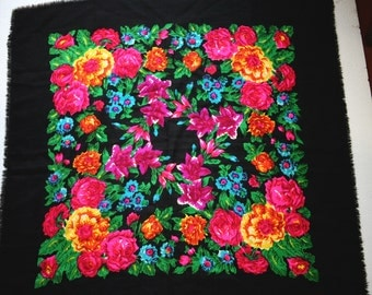 "Bright Russian Scarf Shawl Floral Black with Pink Purple Yellow Flowers Roses Wool 35"" inches From Russia Soviet Union USSR"