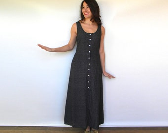 Vintage 90s Black Maxi Dress | Long Sleeveless Dress, Medium