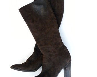 Vintage Womens DKNY Heeled Boots Brown Suede Boots size 9 Mid Calf Length 1990's, Fashionista Boots, Designer Boots,
