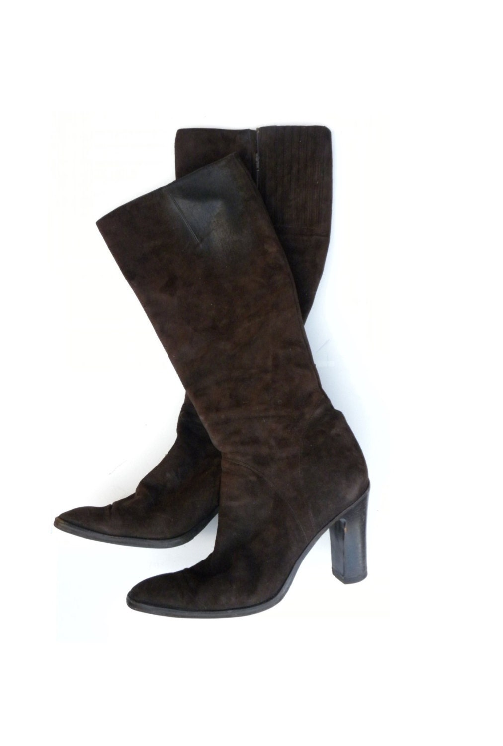 vintage womens dkny heeled boots brown suede boots size 9 mid