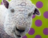 Babydoll Sheep Print for 12 x 12 Inch Frame - Expressive Animal Art - Funny Babydoll Sheep with Polka Dots -10% Benefits Animal Charities