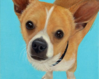 Funny Chihuahua Painting - Chihuahua and Dachshund Mix - Expressive Animal Art - Proceeds Benefit Animal Charity